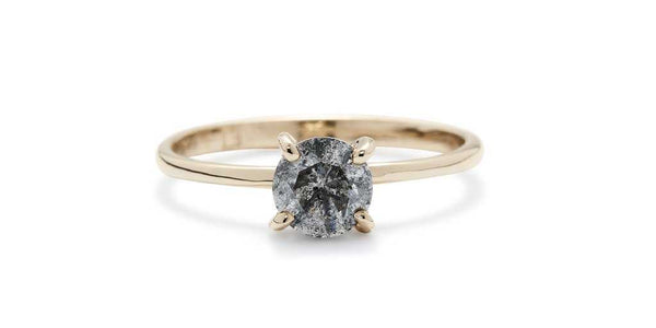 Lara Ring / Light Grey Diamond - ENGAGEMENT - <p>14k Ye - Fitzgerald Jewelry - Handmade in Williamsburg, Brooklyn, NYC