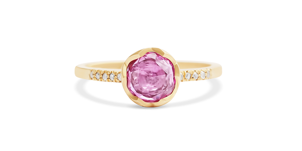 Pave 6.5mm / Pink Sapphire + Diamonds - pave - <meta char - Fitzgerald Jewelry - Handmade in Williamsburg, Brooklyn, NYC
