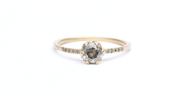 Pave Ring // 5mm Salt + Pepper Diamond