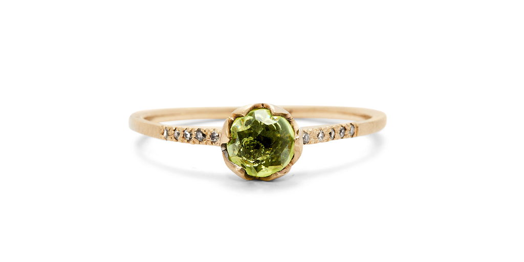 Pave Ring // 5mm Peridot - Fitzgerald Jewelry