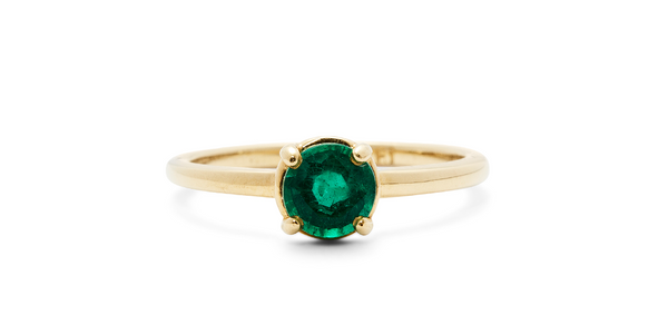 Ruowei Ring - ENGAGEMENT - <p>18k Yel - Fitzgerald Jewelry - Handmade in Williamsburg, Brooklyn, NYC