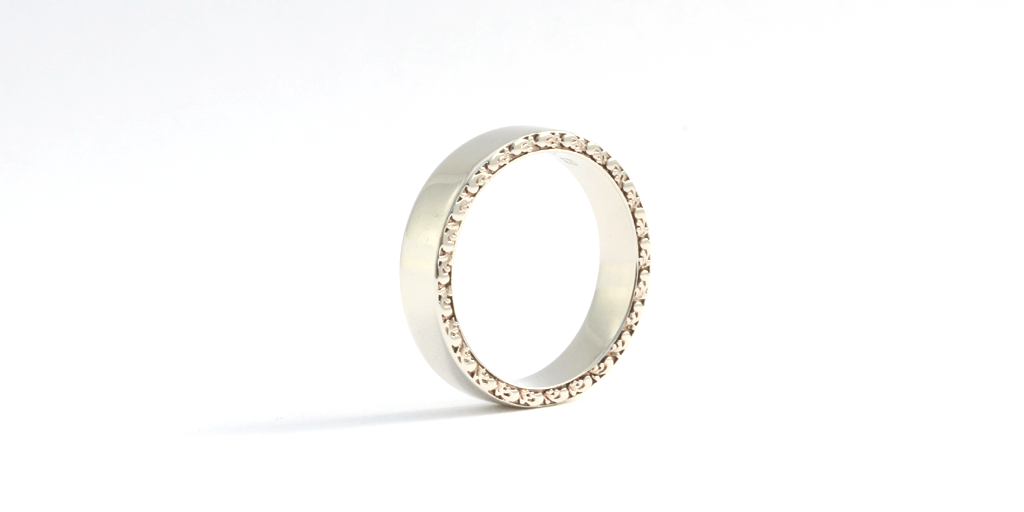 Side Engraved Ring - WEDDING - <meta char - Fitzgerald Jewelry - Handmade in Williamsburg, Brooklyn, NYC
