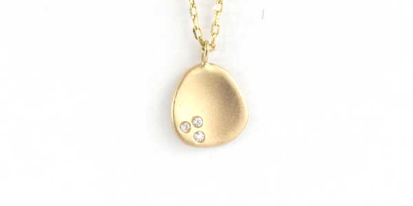 Mini Leaf Pendant // Yellow Gold + Diamonds