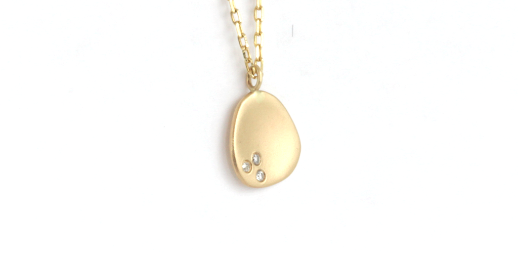 Mini Leaf Pendant // Yellow Gold + Diamonds - leaf - <meta char - Fitzgerald Jewelry - Handmade in Williamsburg, Brooklyn, NYC