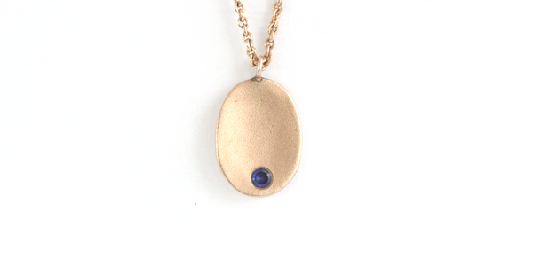 Spoon Pendant / Rose Gold + Sapphire by vendor - spoon - Fine Jewelry Studio in Williamsburg, Brooklyn, NYC