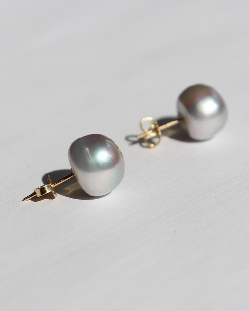 Umi / Grey Pearl Studs by vendor - earrings - Fine Jewelry Studio in Williamsburg, Brooklyn, NYC