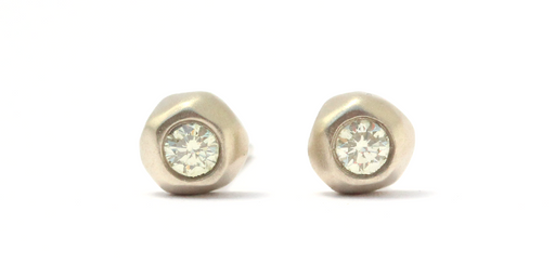 Mini Pebble Studs / Yellow Diamond by vendor - Pebble - Fine Jewelry Studio in Williamsburg, Brooklyn, NYC