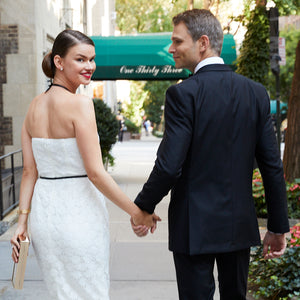 Bride in short white civil wedding dress courthouse wedding dress little white dress with groom