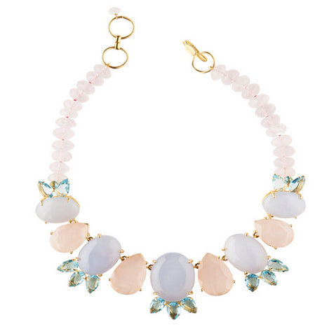 Bounkit Necklace with Blue Quartz and Rose Quartz Pantone color of the year rose quartz and serenity