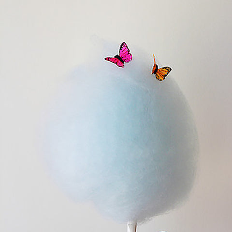 Bon Puf Cotton Candy in Light Blue with Pink and Orange Butterflies
