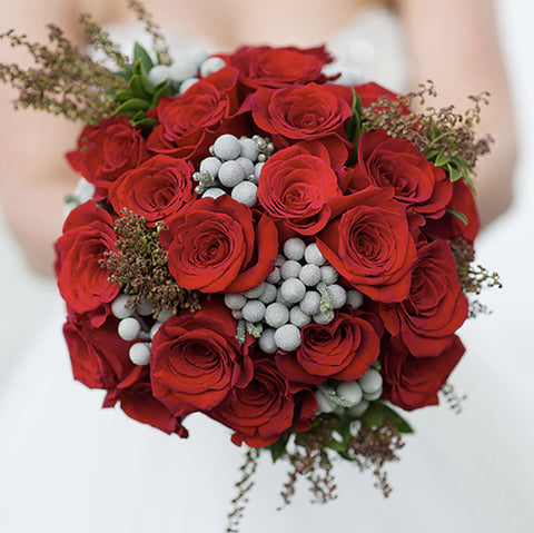 The Bridal Guide Red Rose and berry wedding bouquet Jane Summers Blog