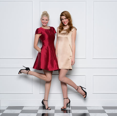 Jane Summers Kimberly Silk Short Flare Bridesmaid Dress and Lynn A line Silk Shift in Champagne Silk