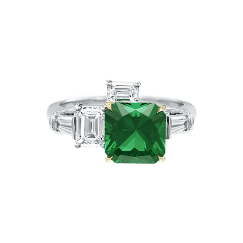 Central Park by Harry Winston, Emerald and Diamond Three Stone Ring from HARRYWINSTON.COM