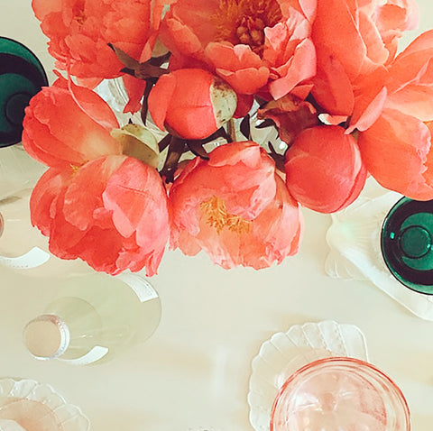 Coral Peonies, Pink Glasses, Green Glasses White Linen Seashell Linen Napkins Bridal Shower