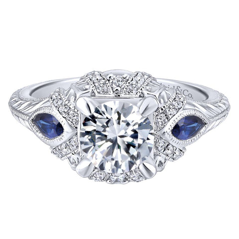 Gabriel NY Diamond Engagement Ring for Jane Summers White Dress Wedding Collection Blog Feature with Sapphires