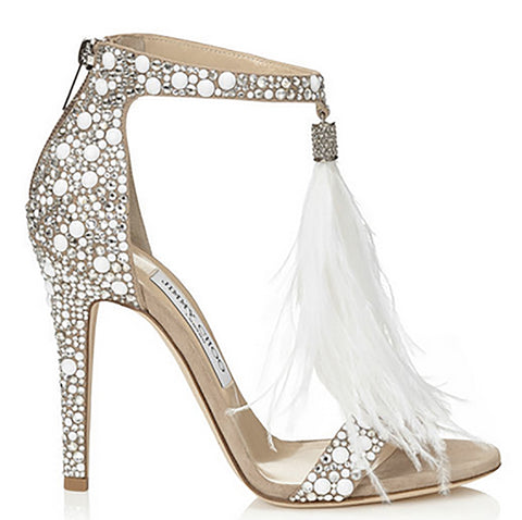 Jimmy Choo Viola Feather and Crystal Detail Sandal