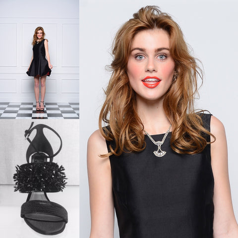 Jane Summers Madeline Little Black Cocktail dress with melon lining, Christian Dior Jet Beaded Stiletto Sandals and Gatsby inspired necklace