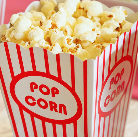 Movie Popcorn in Red and White Striped Box