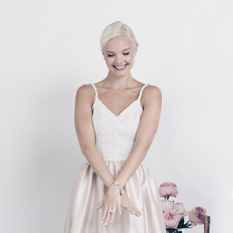 Jane Summers Sydney Sequin and Blush Silk Engagement Party Rehearsal Dinner Wedding Reception and After Party Dress