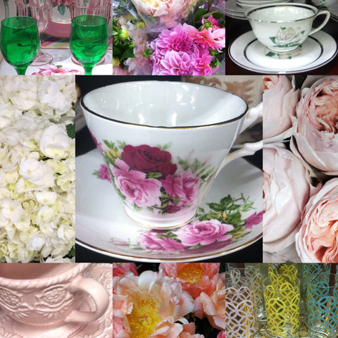 Jane Summers Bridesmaid Luncheon and Bridal Shower Tea party tea cups, flowers, roses, peonies and dahlias