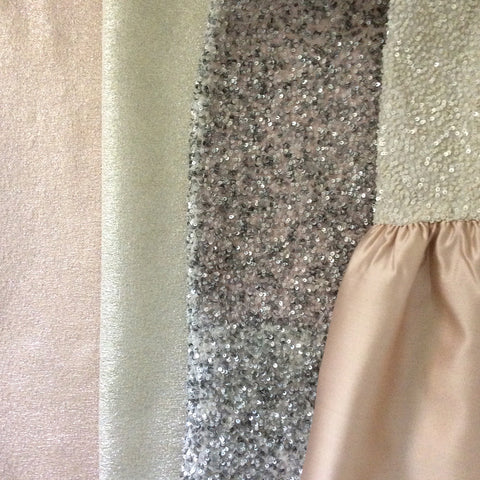 Jane Summers Fabrics in Rose Gold, Silver, Blush, Sequins and White Gold for a Rehearsal Dinner, Wedding Reception, After Party Bridal Showers, Engagement Photos and Engagement Party Dress