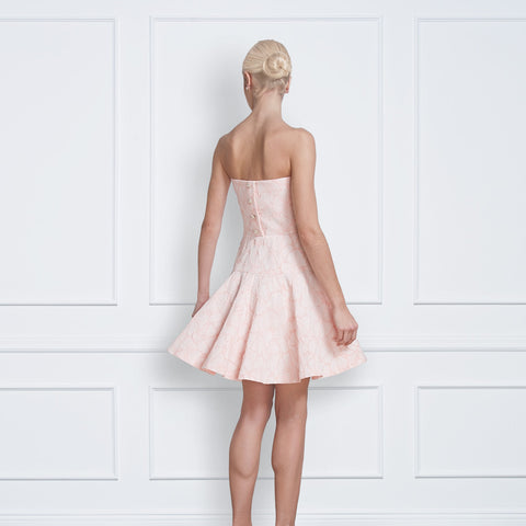 Jane Summers Delilah Blush Floral Strapless Rehearsal Dinner, Bridal Shower, Wedding Reception and After Party Dress