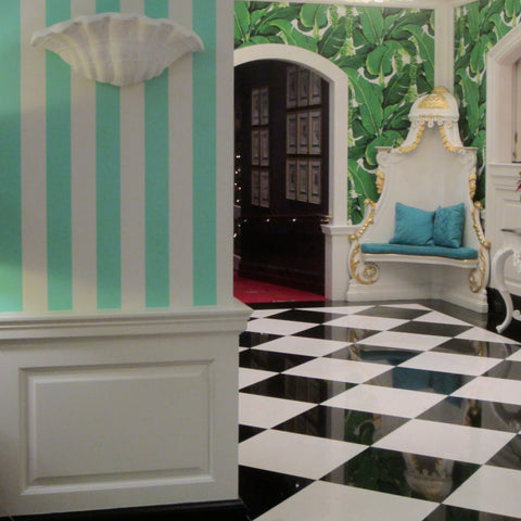 Jane Summers Blog Bridesmaid Luncheon The Greenbrier's Draper Cafe with Brazilliance Wallpaper and Marble Checkerboard floor
