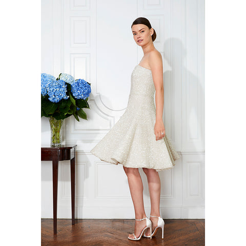 Jane Summers Elegant Strapless Off White Sequin Wedding Dress That Twirls Designer Rehearsal Dinner Outfit