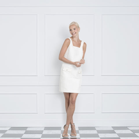 Jane Summers Mary Harper Little White Bridesmaid Luncheon, Bridal Shower, After Party and Wedding Brunch short a line shift dress with pockets and pearl and crystal buttons