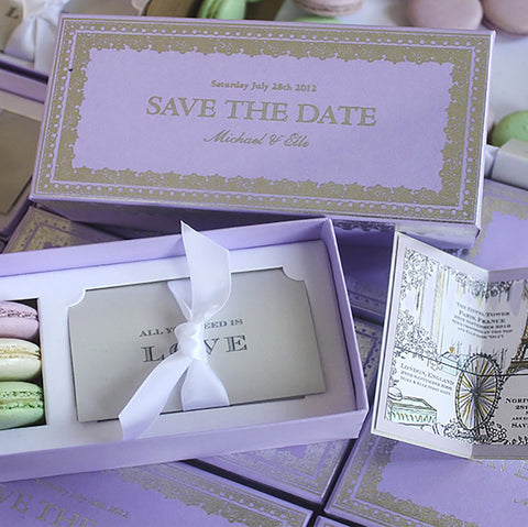 Momental Designs and Laduree Macaron custom invitation save-the-date collaboration
