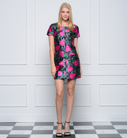 22e8c06966b0d Jane Summers Dani Short Sleeve Pink and Green Floral A line shift bridesmaid  dress with melon
