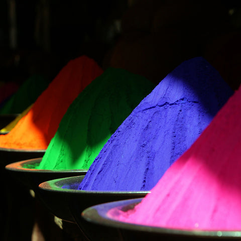 Colorful powders for wedding smoke bomb celebrations via Jane Summers See Jane Decorate Blog post