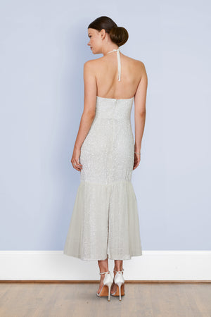 Back view of bride wearing backless sequin tulle midi dress wedding reception dress and after party dress