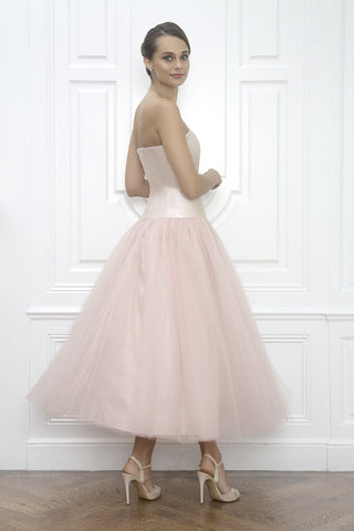 Jane Summers White Wedding Dress in Blush Pink Silk Tulle and Tea Length After Wedding Reception Dress