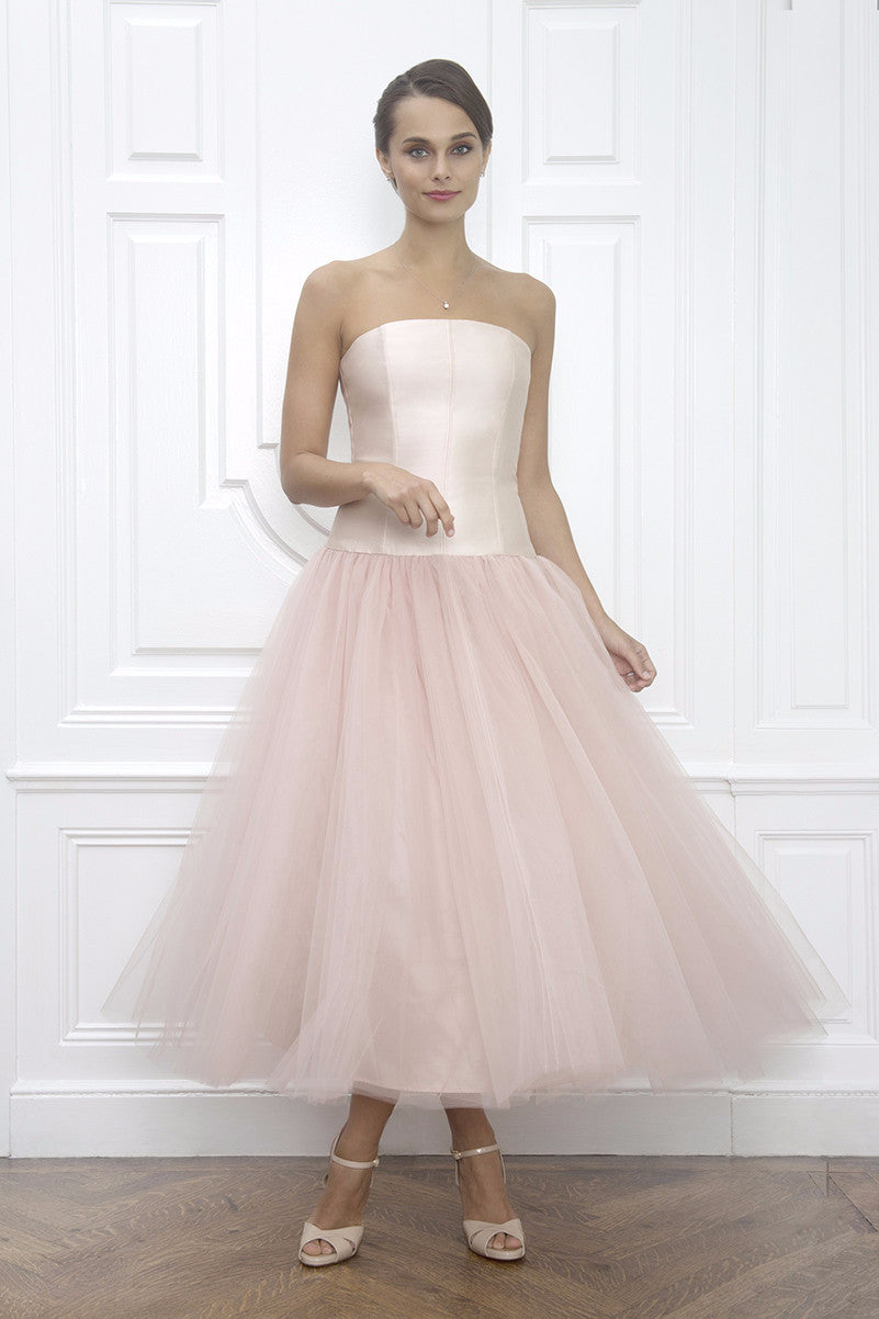 Anna Claire Blush Pink Silk & Tulle Strapless Tea Length Wedding ...