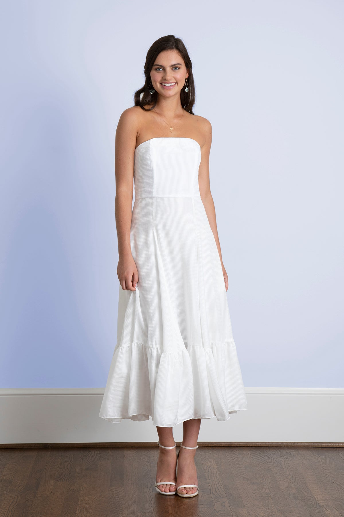 Ivie White Strapless Tea Length Rustic Romantic Outdoor Wedding Dress Jane Summers