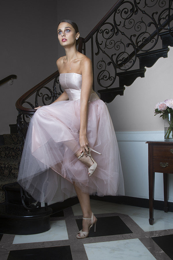 Pink Wedding Dress in Blush Silk Tulle Strapless Tea Length After Party Wedding Reception Dress First Dance
