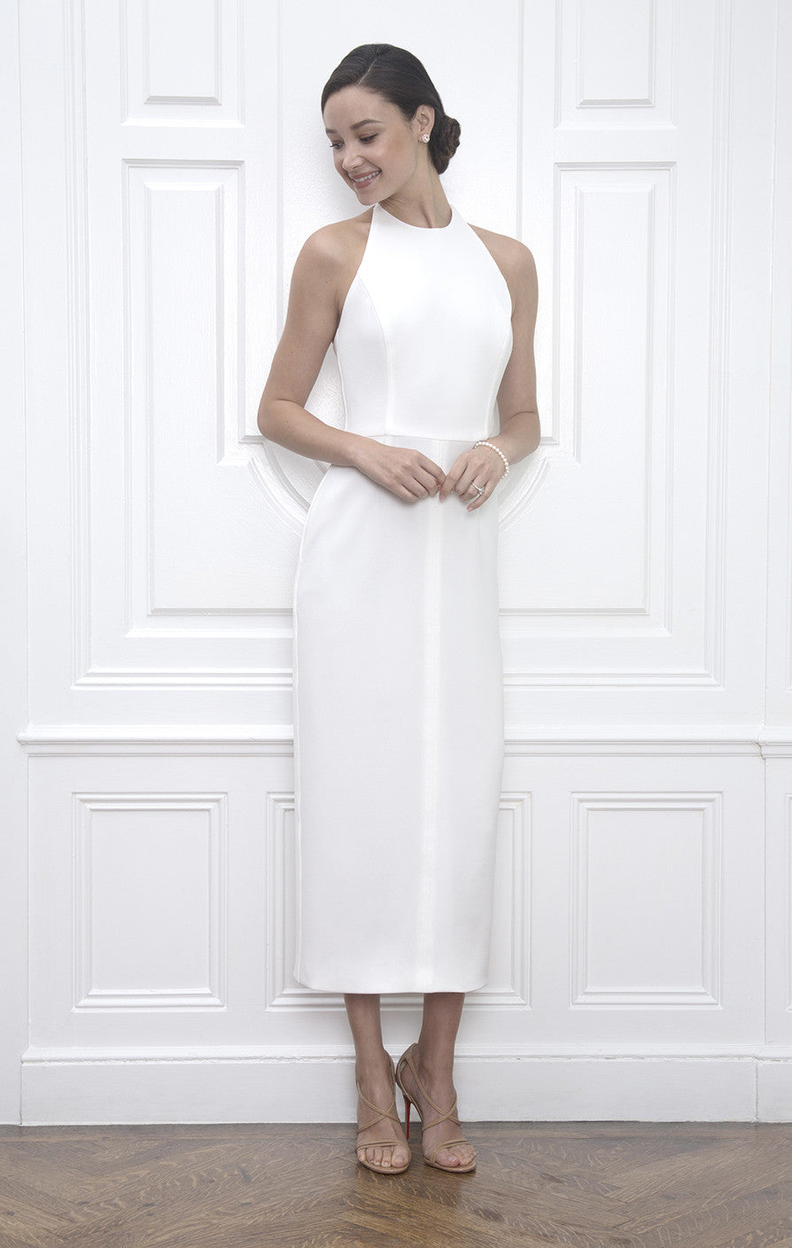 Sarah White Midi Length Halter Rehearsal Dinner Dress & Wedding ...