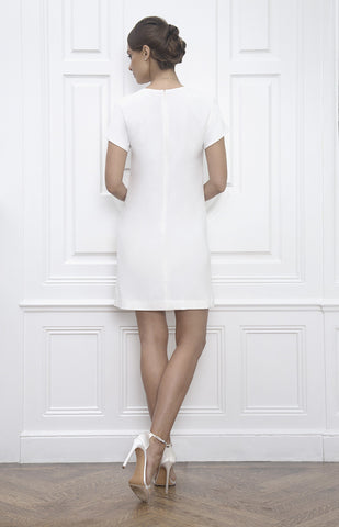 Jane Summers White Short Sleeve A Line Casual Wedding Dress with Pockets for Bridal Shower Civil Ceremony