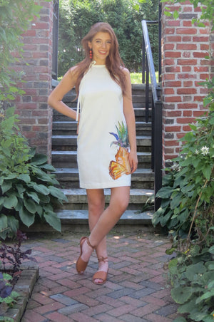 Modern short white a line halter shift dress with giant pineapple print to wear to wedding shower