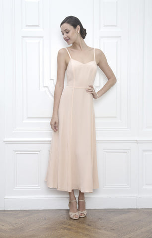 Jane Summers Pale Peach Backless Tea Length Slip Dress Destination Wedding Dress Rehearsal Dinner Reception After Party
