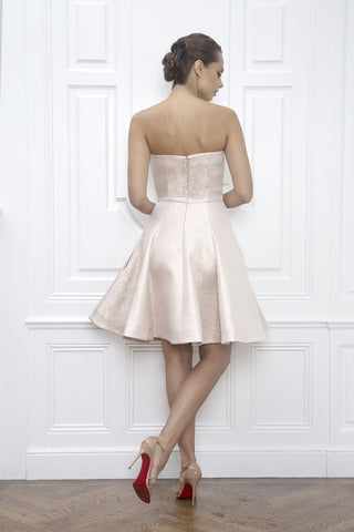 Jane Summers Champagne Pink Rose Gold Strapless Flared Bridesmaid Wedding Dress Wedding Reception After Party Cocktail Dress
