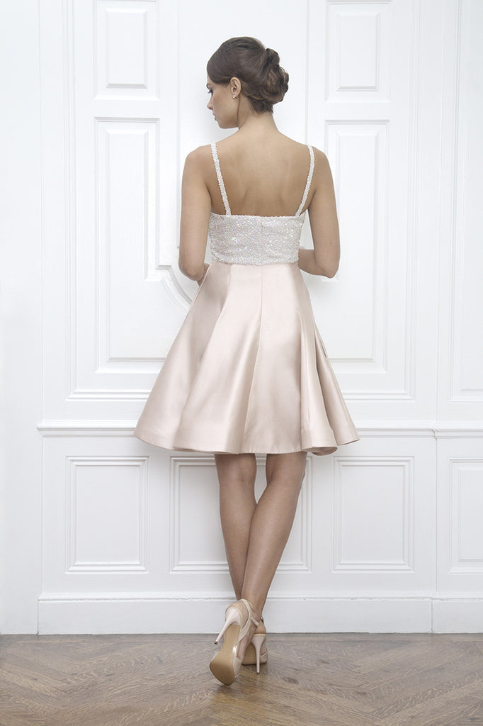 Light Pink Sequin flattering fit and flare twirling first dance bridal dress perfect for a modern bride