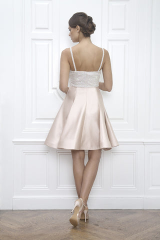 Jane Summers Bridal Collection Short Blush Pink White Ivory Sequin Cocktail Dress Wedding Reception After Party Dress