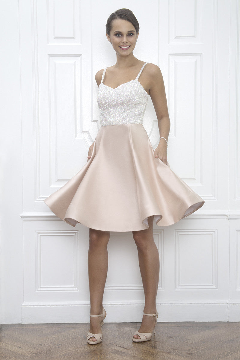 Elizabeth Sequin Blush Pink Wedding Reception After Party Dress