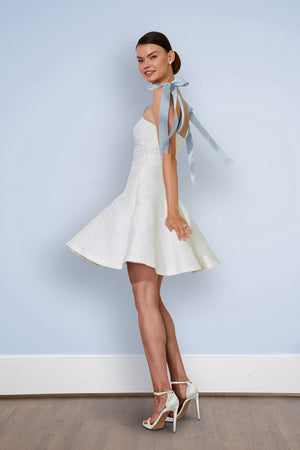Short White casual simple wedding dress twirling first dance Brenta court house civil ceremony bhldn destination dress