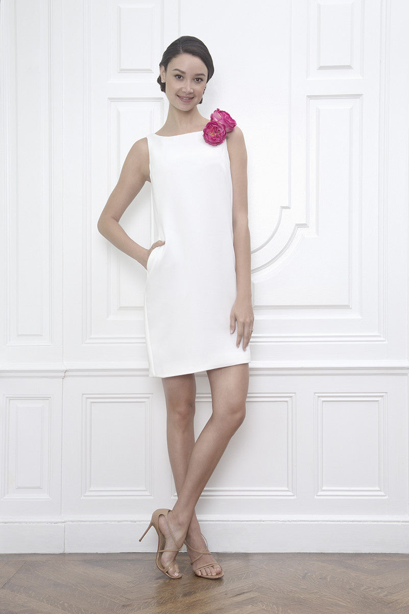 jane summers white sleeveless casual wedding dress shift dress with pockets bridal shower civil ceremony corsage