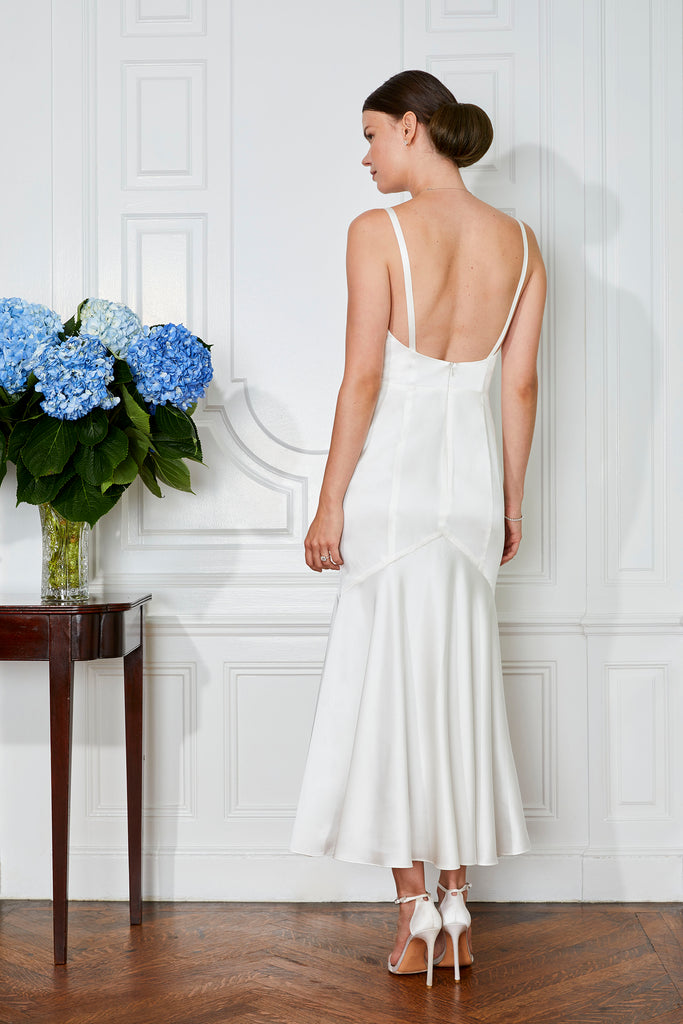 stylish backless 30s style hollywood glamour fit and flare midi bride wedding dress