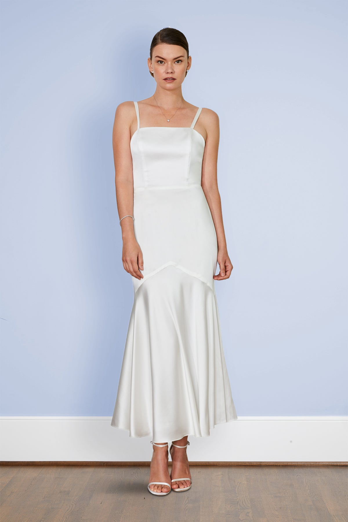Keats Off White Tea Length Wedding Reception And Bridal Party