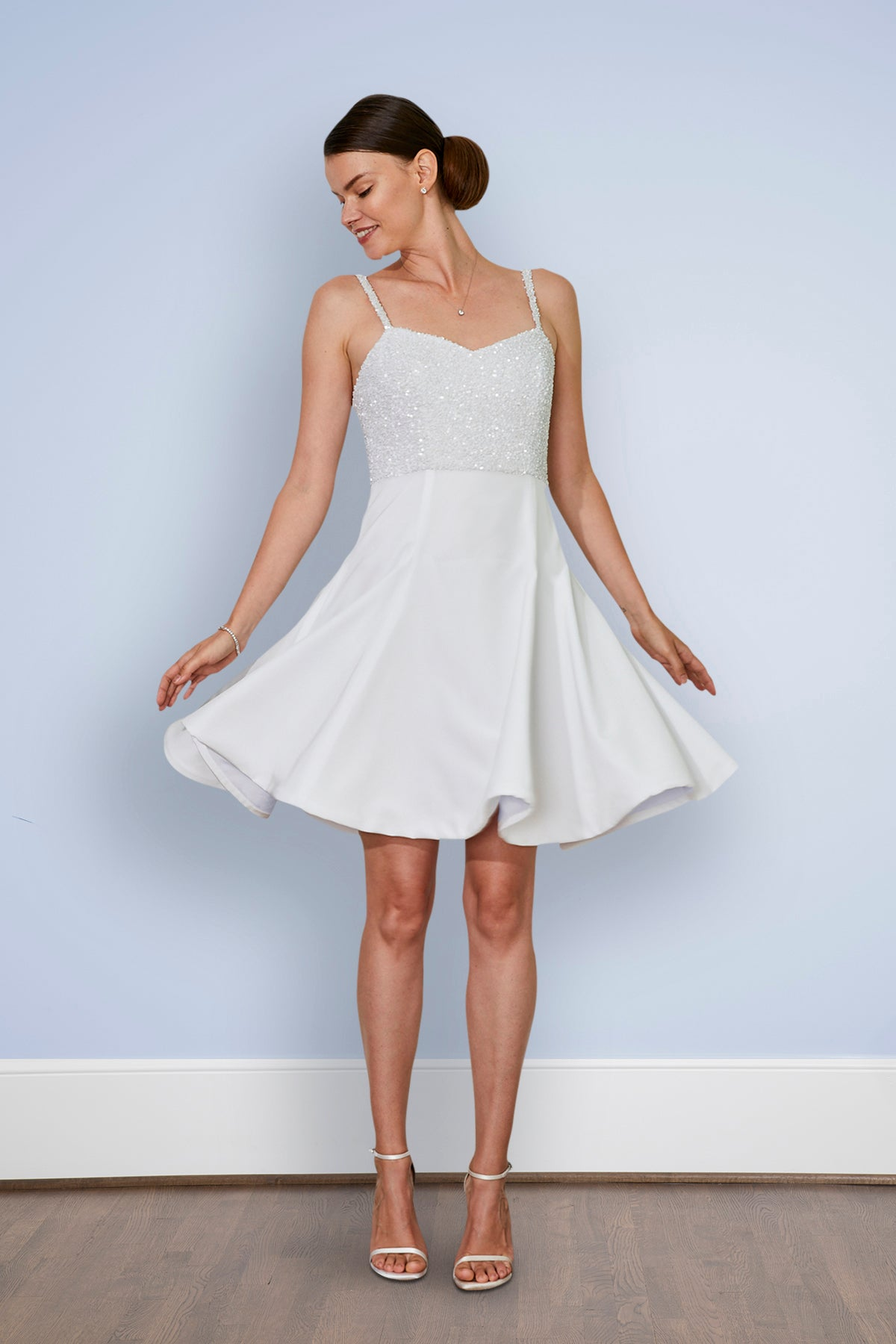 Kelly Short White Wedding and Rehearsal Dinner Bridal Party Dress